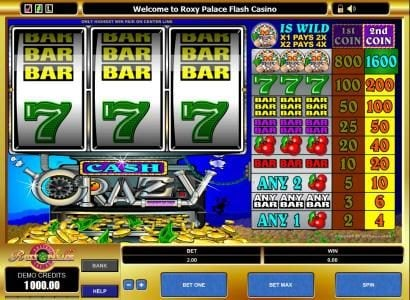 Grand Mondial featuring the Video Slots Cash Crazy with a maximum payout of $3,200
