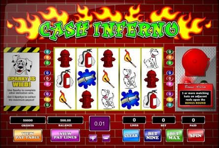 Casino Superlines featuring the Video Slots Cash Inferno with a maximum payout of  $62,500