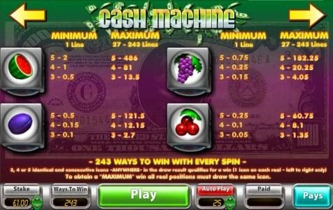 Gorilla featuring the Video Slots Cash Machine with a maximum payout of $121,500