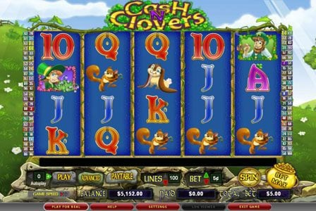 Moon Games featuring the Video Slots Cash n' Clovers with a maximum payout of $50,000