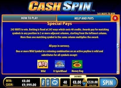 Coral featuring the Video Slots Cash Spin with a maximum payout of $4,000