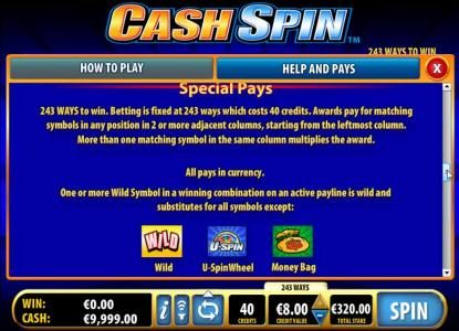 NetBet featuring the Video Slots Cash Spin with a maximum payout of $4,000