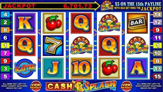 Casino Mate featuring the Video Slots Cash Splash 5 Reel with a maximum payout of Jackpot