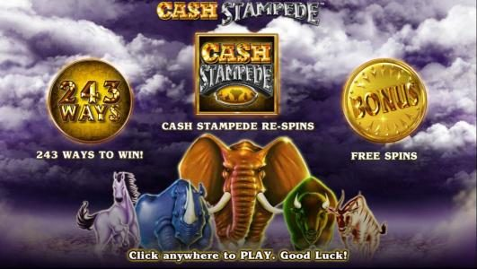 Clover Casino featuring the Video Slots Cash Stampede with a maximum payout of $20,000