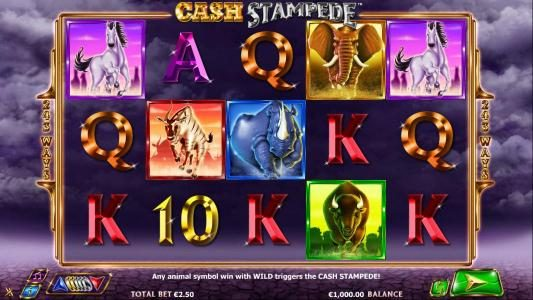 Egypt Slots featuring the Video Slots Cash Stampede with a maximum payout of $20,000
