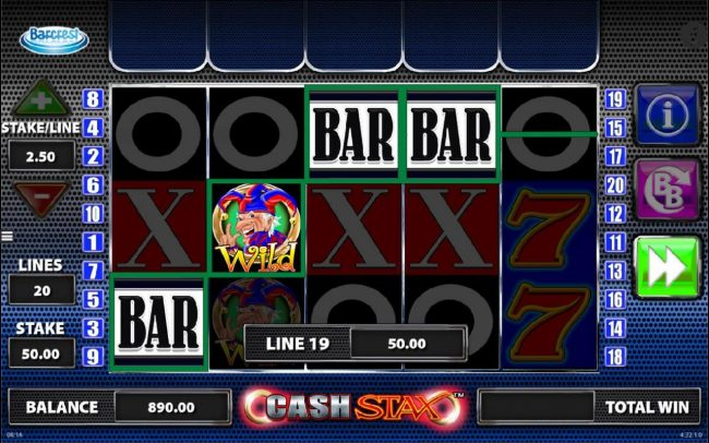 Powerspins featuring the Video Slots Cash Stax with a maximum payout of $250,000