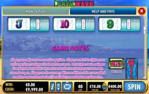 Slot game symbols paytable - continued and game notes
