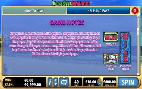Coral featuring the Video Slots Cash Wave with a maximum payout of $10,000