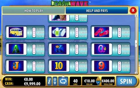 Free Games Bonus Feature Paytable - continued