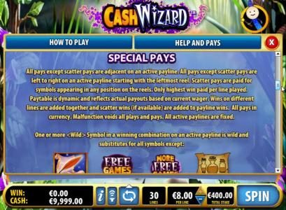 Secret Slots featuring the Video Slots Cash Wizard with a maximum payout of $40,000