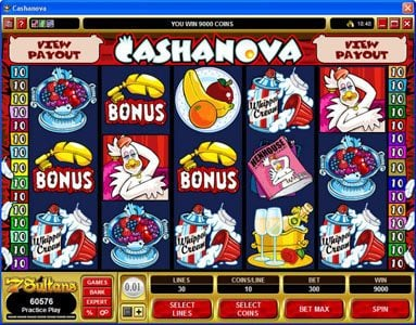 Spin Palace featuring the Video Slots Cashanova with a maximum payout of $375,000