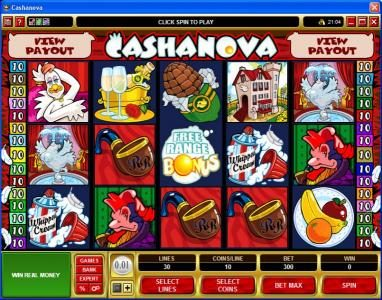 Play slots at Casino Kingdom: Casino Kingdom featuring the Video Slots Cashanova with a maximum payout of $375,000
