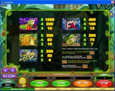 CasinoUK featuring the Video Slots Cashapillar with a maximum payout of $1,200,000