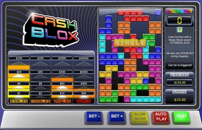 21 Nova featuring the Video Slots Cash Blox with a maximum payout of $100,000
