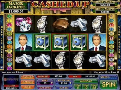 Play slots at Slot Madness: Slot Madness featuring the Video Slots Cashed Up with a maximum payout of $15,000