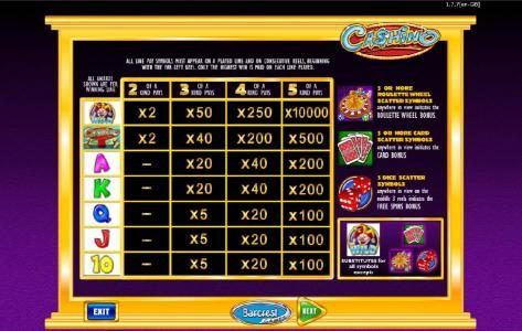 All British featuring the Video Slots Cashino with a maximum payout of $250,000