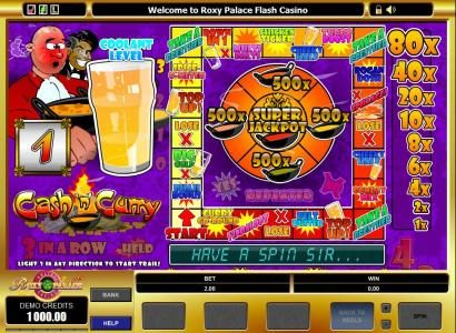 Queen Vegas featuring the video-Slots Cash'n' Curry with a maximum payout of $5,000