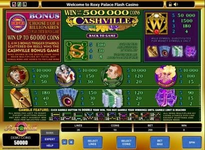 Simba Games featuring the Video Slots Cashville with a maximum payout of $50,000