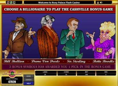 choose a billlionaire to play the cashville bonus game