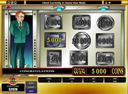 you won 5000 coins during the bonus feature