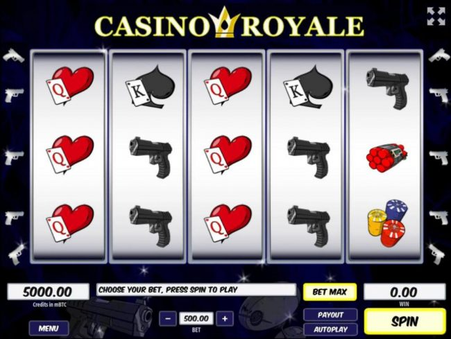 Royale24 featuring the Video Slots Casino Royale with a maximum payout of $250,000
