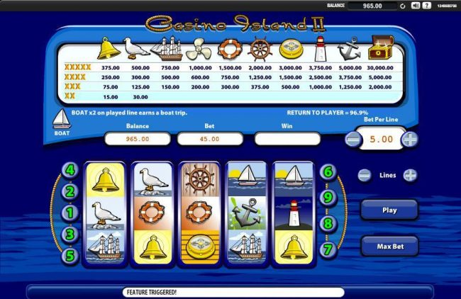 Casino Island II :: Boat x2 on any played line earns a Boat Trip.