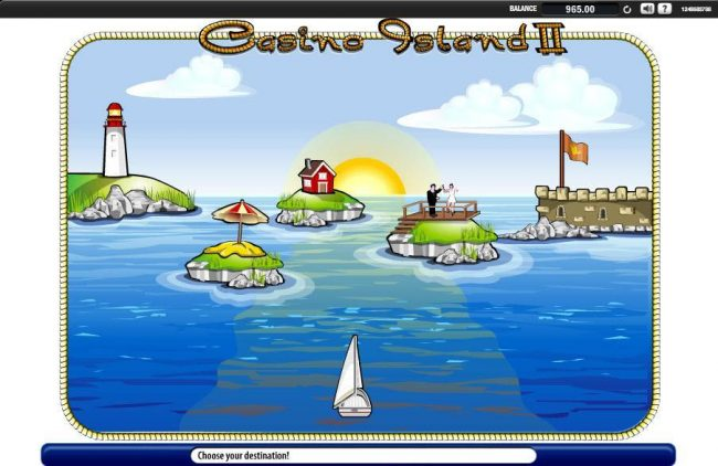 Casino Island II :: Boat Trip Bonus Game - Select a destination to earn a prize. Watch out for the rocks that can popup at any moment or location along your way.