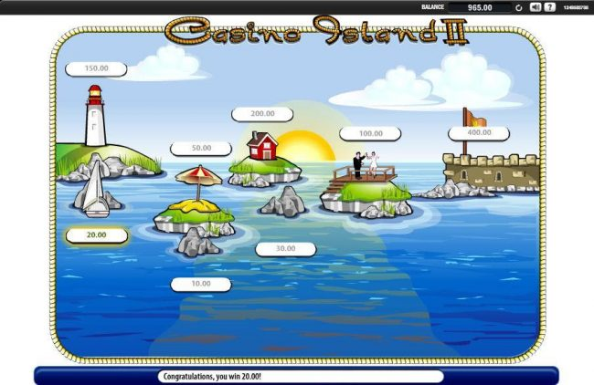 Casino Island II :: The boat runs into a rock and collects 20.00