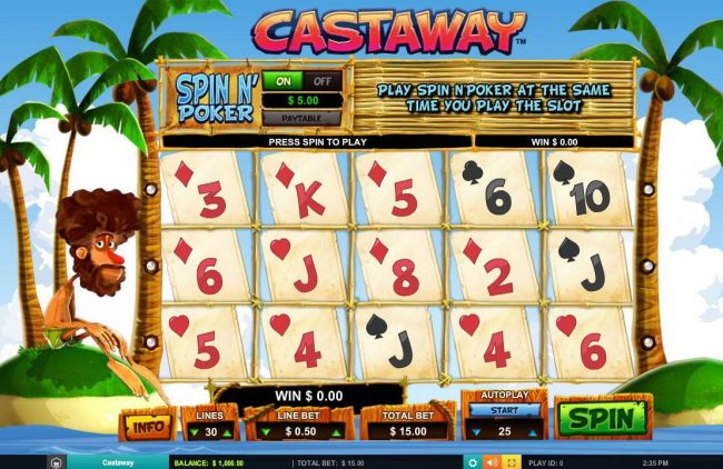 Play slots at VIP Casino: VIP Casino featuring the Video Slots Castaway with a maximum payout of $7,500