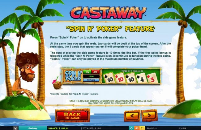 Casino Extra featuring the Video Slots Castaway with a maximum payout of $7,500