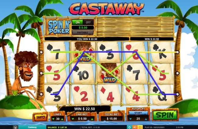 Hello featuring the Video Slots Castaway with a maximum payout of $7,500