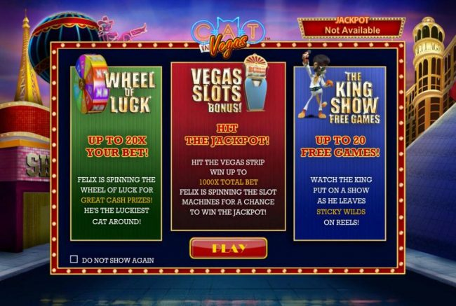 Game features include: Wheel of Luck, Vegas Slots Bonus and the King Show Free Games