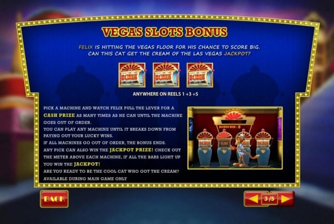 Vegas Slot Bonus is triggered when three bonus icons appear anywhere on reels 1, 3 and 5.