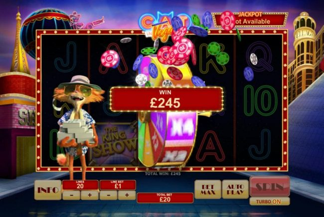 Wheel of Luck pays out a total of 245.00. Feature gameplay continues until you land on an iactive wheel position.