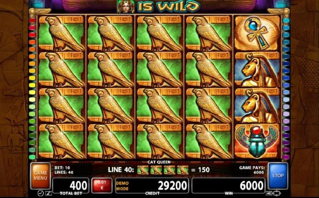 Stacked falcon symbols on reels 1 to 4 triggers multiple winning paylines leading to an 6000 credit super win.