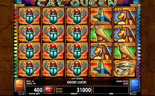 A 2,000 credit jackpot triggered by stacked scarab beetle symbols on reels 1, 2 and 3.