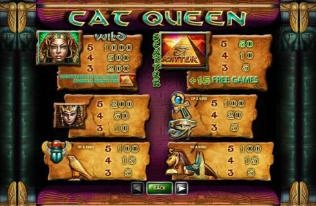 50 Stars featuring the Video Slots Cat Queen with a maximum payout of $20,000