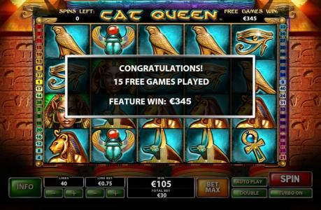 The free games feature pays out a total feature win of €345
