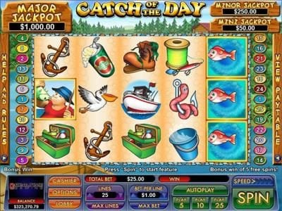 Slot Madness featuring the Video Slots Catch Of The Day with a maximum payout of $5,000