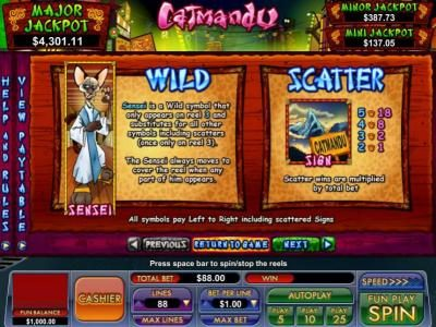 Slot Madness featuring the Video Slots Catmandu with a maximum payout of Jackpot