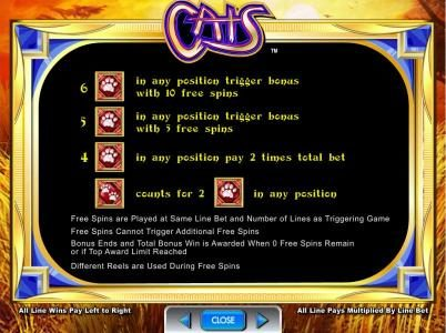 Cats :: Free Spins Bonus rules