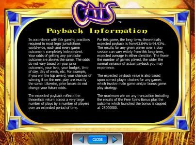 Casino Club featuring the Video Slots Cats with a maximum payout of $500,000
