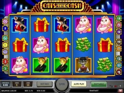 Go Wild featuring the Video Slots Cats and Cash with a maximum payout of $10,000