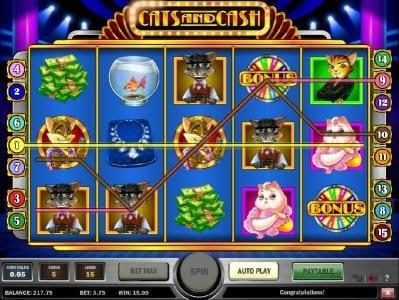 Shadowbet featuring the Video Slots Cats & Cash with a maximum payout of $10,000
