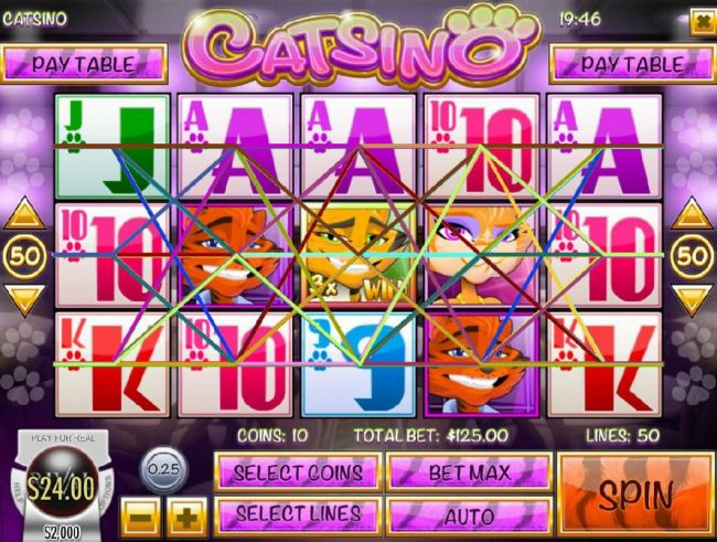 Catsino :: Main game board featuring five reels and 50 paylines with a $3.125 max payout