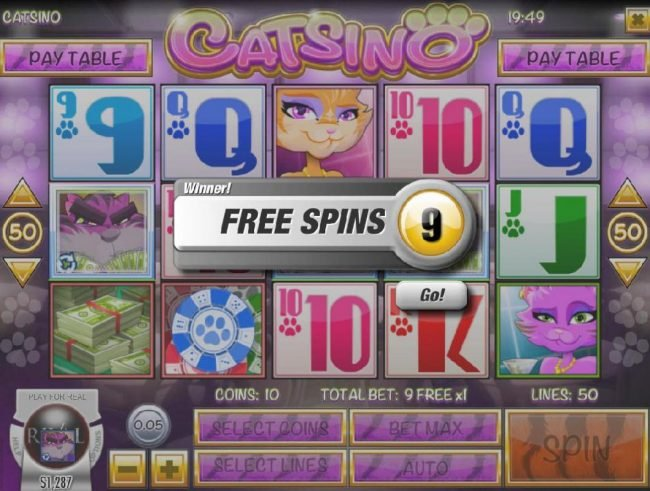 Catsino :: 9 free spins awarded.