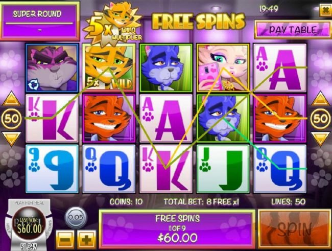 Catsino :: Multiple winning paylines triggered during the Free Spins feature.
