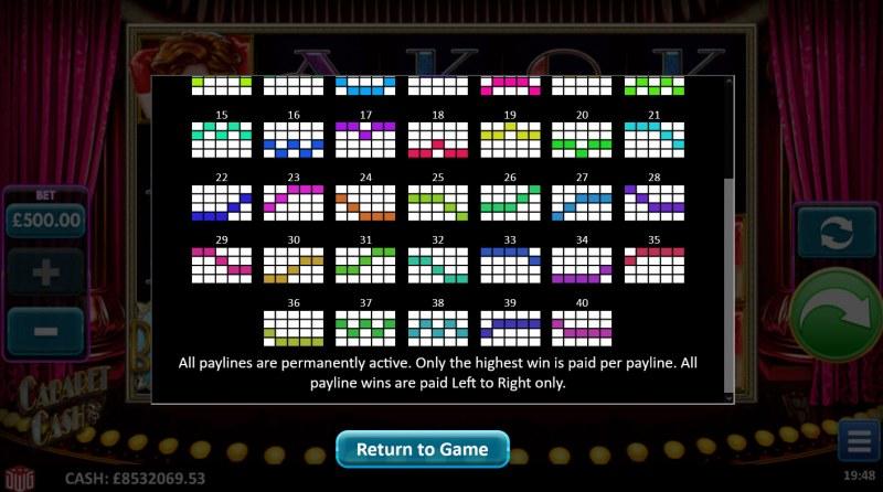 Cabaret Cash :: Paylines