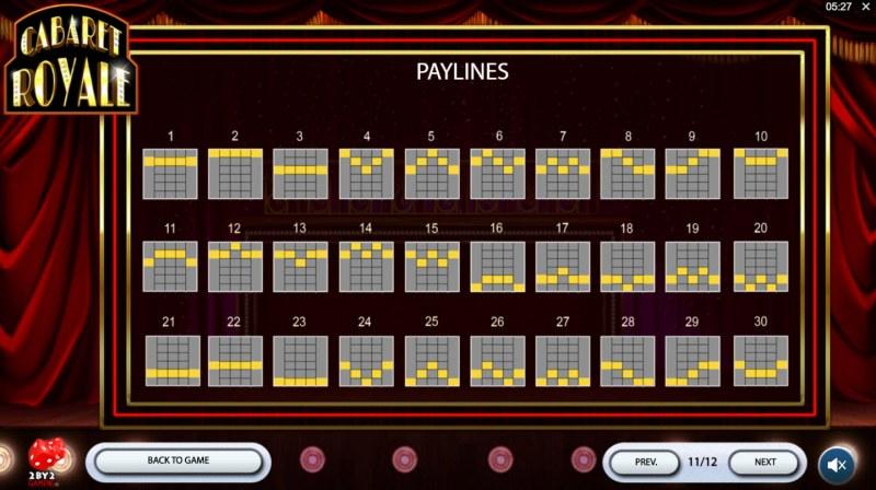 Cabaret Royale :: Paylines 1-30