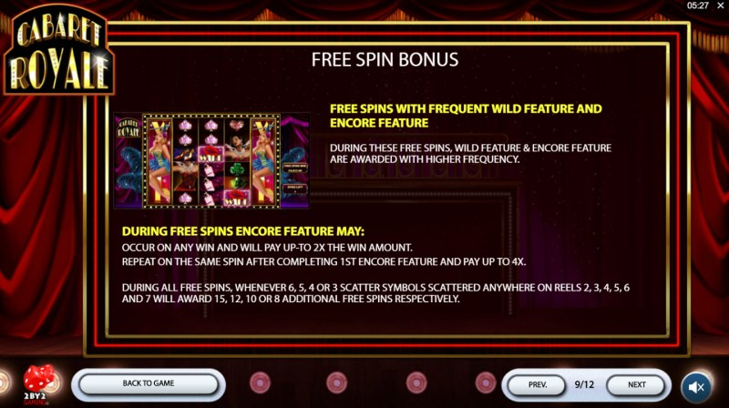 Cabaret Royale :: Free Spins Rules